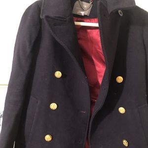 Jcrew navy blue wool jacket with gold buttons.